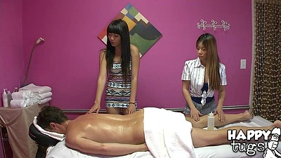 Oil massage with two cute asses masseuses in cfnm with Layla Mynxx and Asia Zo