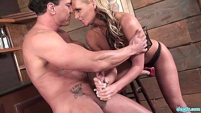 Intense handjob and standing fuck with pro porn star milf Phoenix Marie