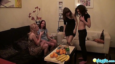 Group of tipsy lesbian whores star their party