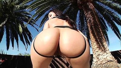 Impressive latina posing booty outdoor Vicki Chase