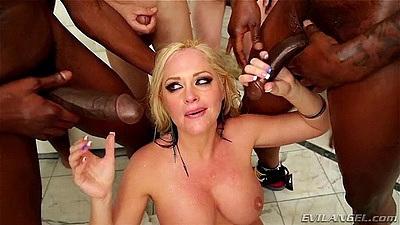 Group big boobs interracial gang bang with Alena Croft having deep throats all the time