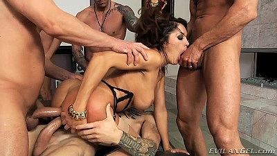 All holes filled double penetration from group milf Francesca Le