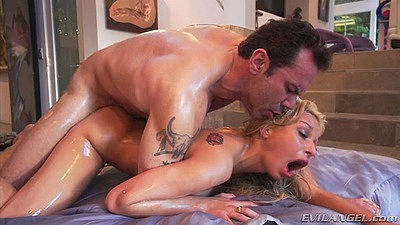 Filthy oiled up latina Carmen Caliente pounded from back and front
