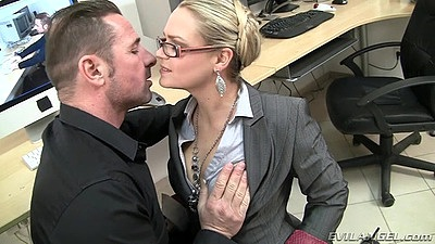 Blonde milf Barra Brass makes out and does cock sucking under desk in office