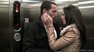 Making out in the elevator fully clothed with skinny intense milf Alexa Tomas
