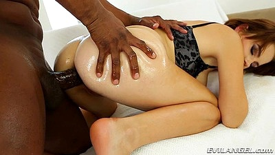 Black cock whtie girl rear penetration anal with oiled up Marina Visconti