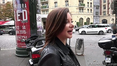 Flirting outdoor Anna Polina in public walking the street