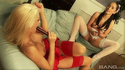 Natasha Marley and Anaya Leon sex toy lingerie blonde and bruentte girl on girl