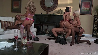 Spunky group of milfs and lucky guy Bridgette B and Dylan Ryder