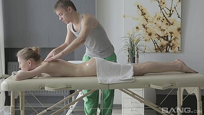 Young and fresh euro girl getting a nice oil massage