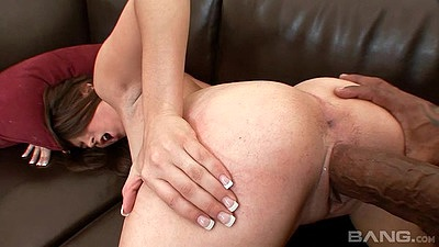 Playful doggy style interracial with Madaline acquiring a huge cock in her cunt