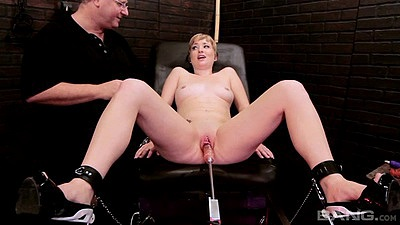 Small boobs girl spread legs and tied down for machine sex with Nora Skyy