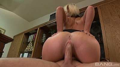 Friendly blonde cowgirl sex during audition with Jasmine Jolie
