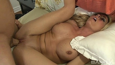 Corrupt blonde busty drilling from the front with milf Sindy Lange