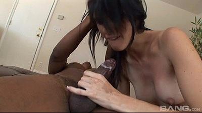 BLowjob with small boobs brunette girl Jennifer Dark in black cock white girl