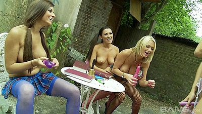 Heated lesbian half dressed fun with sex toys outdoors with Natasha Marley and Krystal Webb and Paige Ashley
