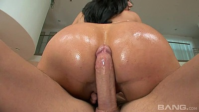 Cowgirl oiled up big ass riding Bella Reese