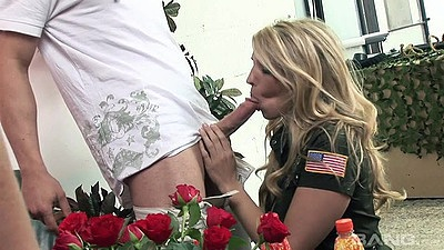 Alexa Andreas and Antonia Deona with Jordan Kingsley blowjob and female army uniform sex