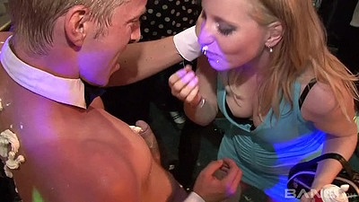 Party time with whip cream and cfnm girl touching male stripper