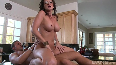 Heated big boobs latina milf Raquel Devine reverse cowgirl on kitchen table