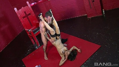 Delicious latina pile driver with hairless pussy sex close up Alyssa Divine