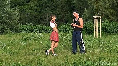 Cute 18 year old Czech girl Monica Sweat in the public park sucks penis