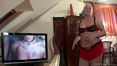 Granny Maria Muhari goes down on dudes cock