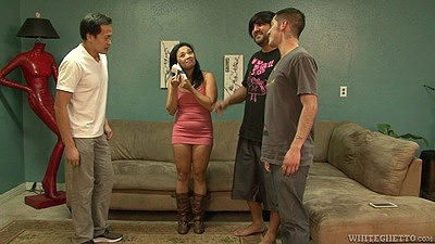 Small tits asian milf Lucky Starr gets naked to please group of dicks