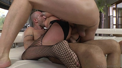 Double penetration threesome and cock loving slave Dominica Phoenix
