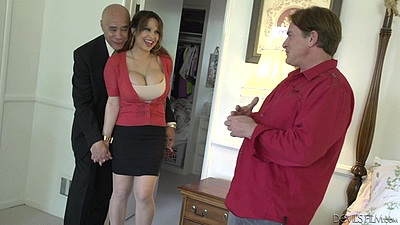 Fully clothed milf wife Alyssa Lynn gets offered by the husband