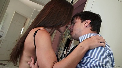 Seduced by the wife man kissing petite Olivia Wilder