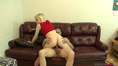 Girl sits on bisexual males cock wearing only shirt Kristy Snow