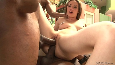 Aroused by the size of these massive black dicks Casey Calvert gets all wet and stretched