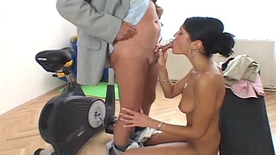 Making a sex type with college whore in basement style old and young