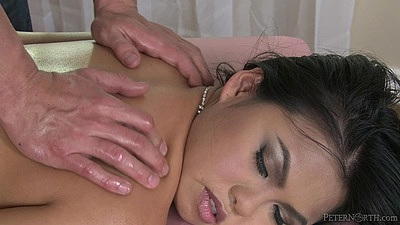 Sensual asian massage with Cindy Starfall placing dick in mouth