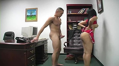 Cheerleader with no panties and cute uniform in office fem dom Lydia Love