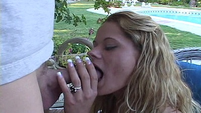 Cock sucking milf and doggy style fuck outdoors