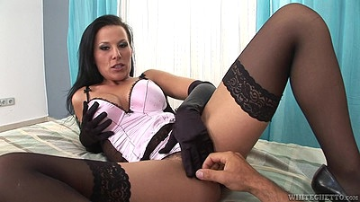 Fingering fresh looking brunette Simone B in lingerie