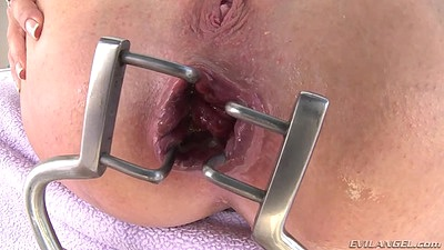 Instrument is spreading Dollie Darko ass with ready for dick easy slide in