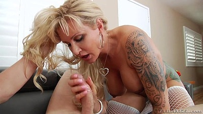 Sucking dick with fishnet doggy style anal entry from blonde milf Ryan Conner