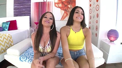 Skinny brunette Kylie Sinner and Rachele Richey getting naked on camera