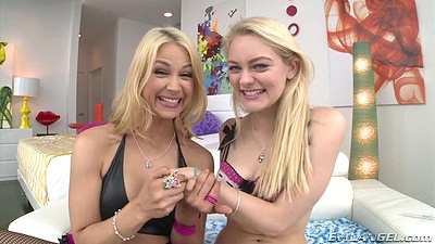 Smiling Alli Rae and Sarah Vandella wearing cute lingerie go adventure