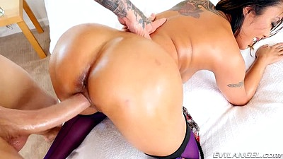 Oiled up round asian ass Kaylani Lei big dick entry from the rear