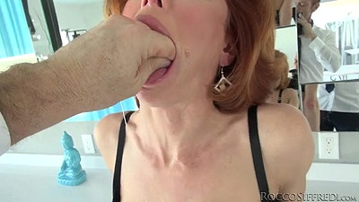 Redhead milf mouth fingered Veronica Avluv and pov cock sucking