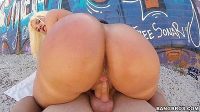 Daring big ass girl having sex behind a building in public Blondie Fesser