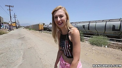 Vixen blonde Alexa Grace outdoors in public still wearing clothes
