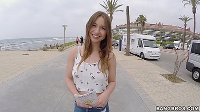 Fully clothed petite amateur Taylor Sands picked up on the beach road