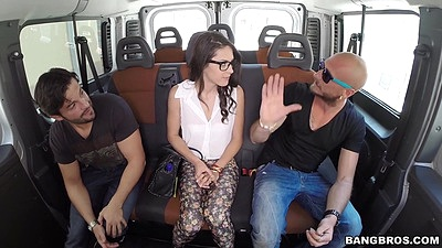 Fully clothed latina Carolina Abril having a seat on the bang bus