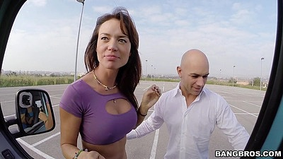 Excited public outdoor latina milf Franceska Jaimes picked up for a drive