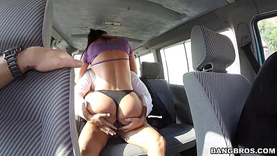 Backseat latina milf dry humping Franceska Jaimes then goes to junk yard